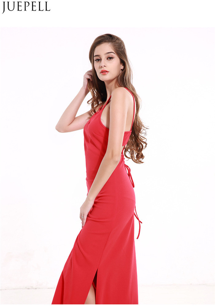Summer New Halter Bandage Dress Strapless Dress Solid Color Sleeveless Dress Sexy Package Hip Split Women Dresses