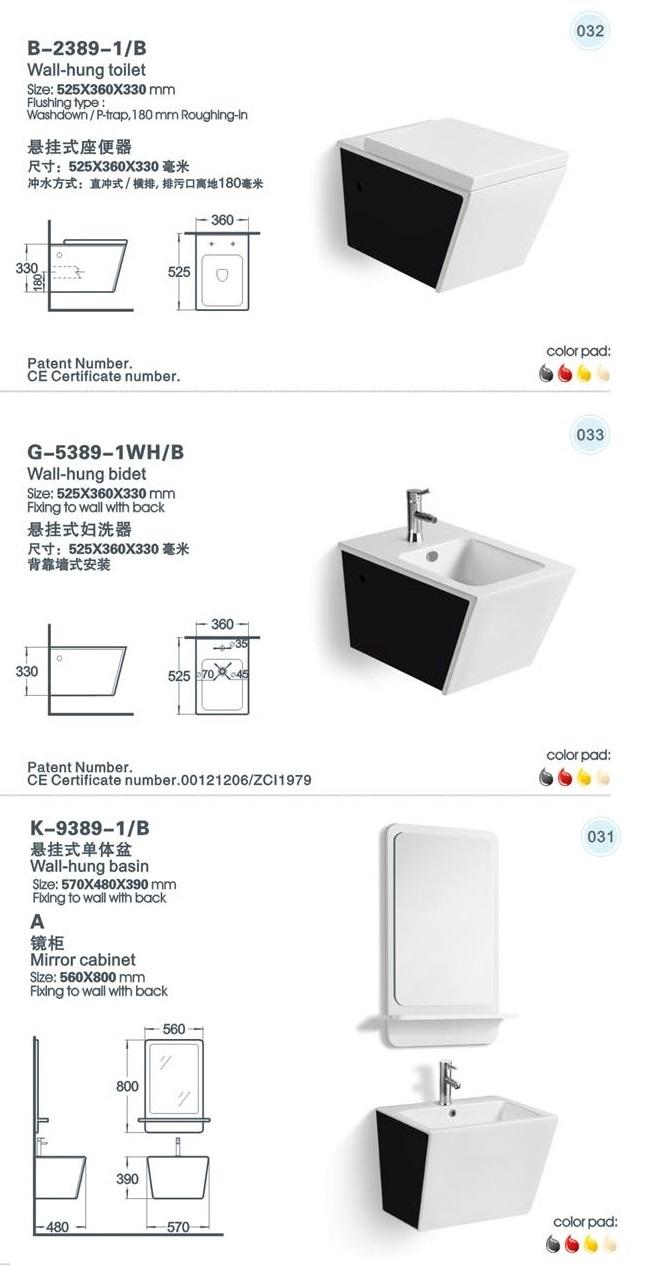 Ceramic Wall Hung Toilet, Basin, Bidet Bathroom Series