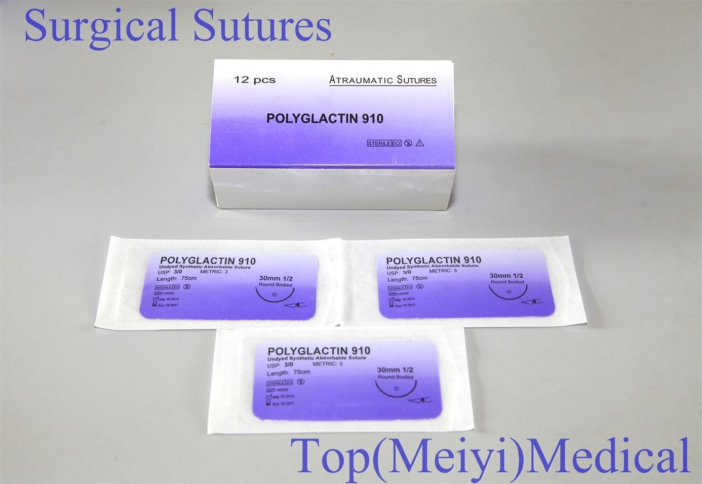 Surgical Suture with Needle (Catgut/PGA/Nylon/Silk)