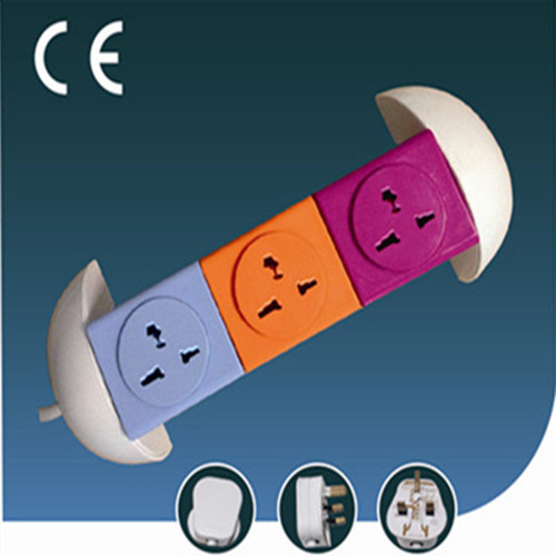 Colorful Rotatable Universal Electrical Socket Three Ways with USB