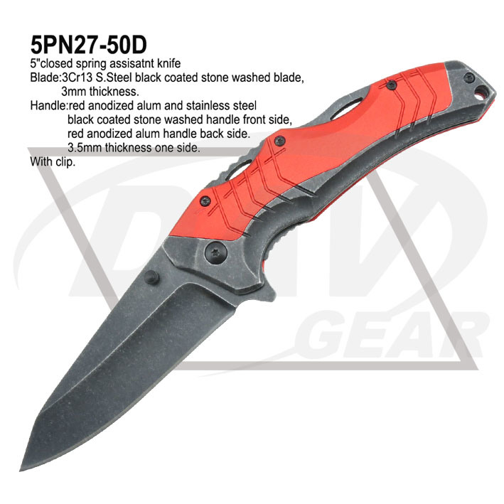 "5""Closed Alum&Steel Spring Assistant Knife with Black Coated (5PN27-50D)"