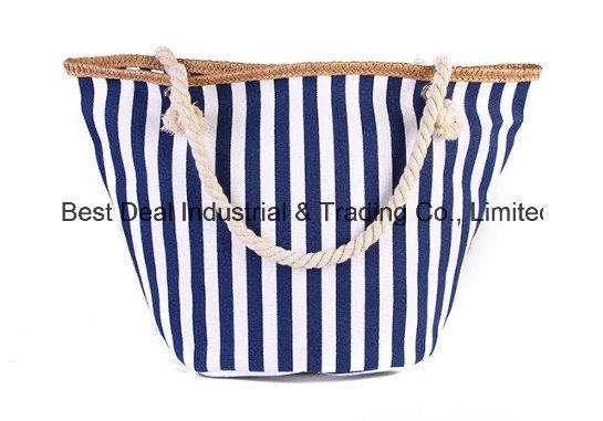 Strip Round Bottom with Buckle Canvas Bag