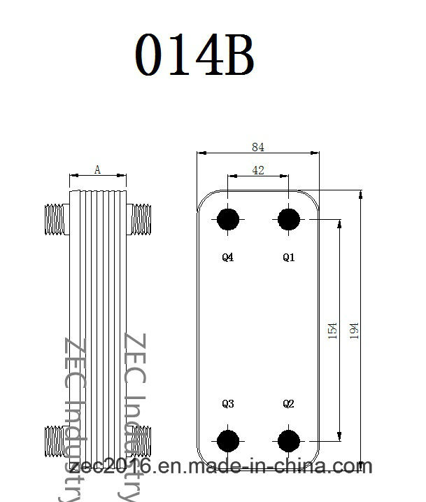 Flat Plate Heat Exchanger with Ce B3-014b