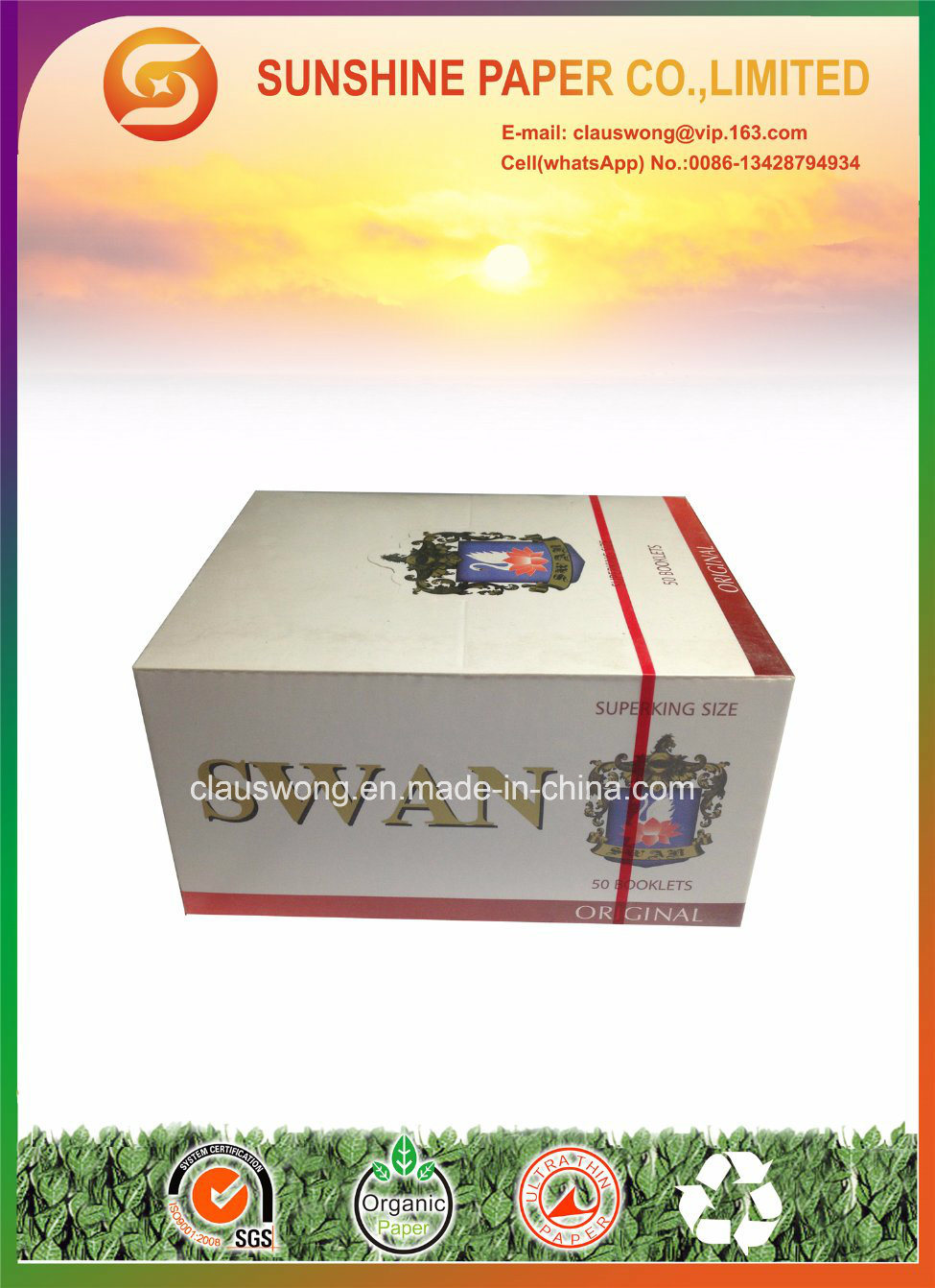 Superking Size Rolling Paper with 20GSM White Paper