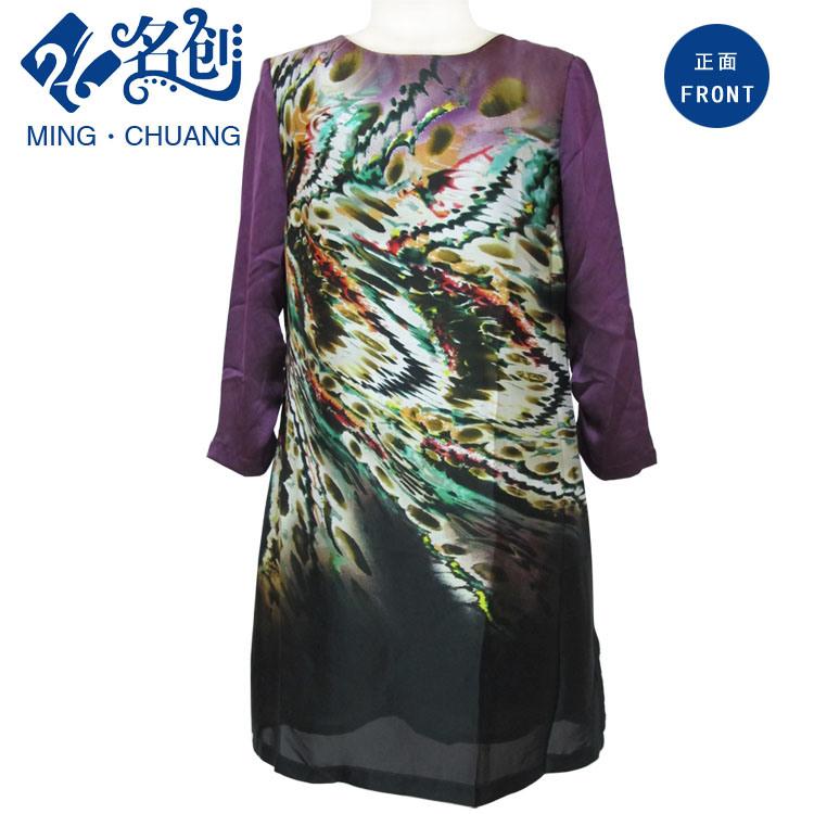 Fashion Mesh Printed Long Sleeve Dress