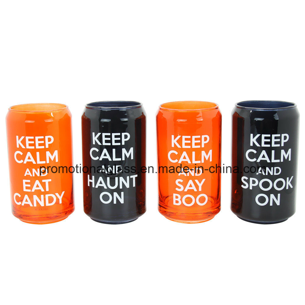 Colored Glass Beer Can, Set of 4, Glass Soda Can