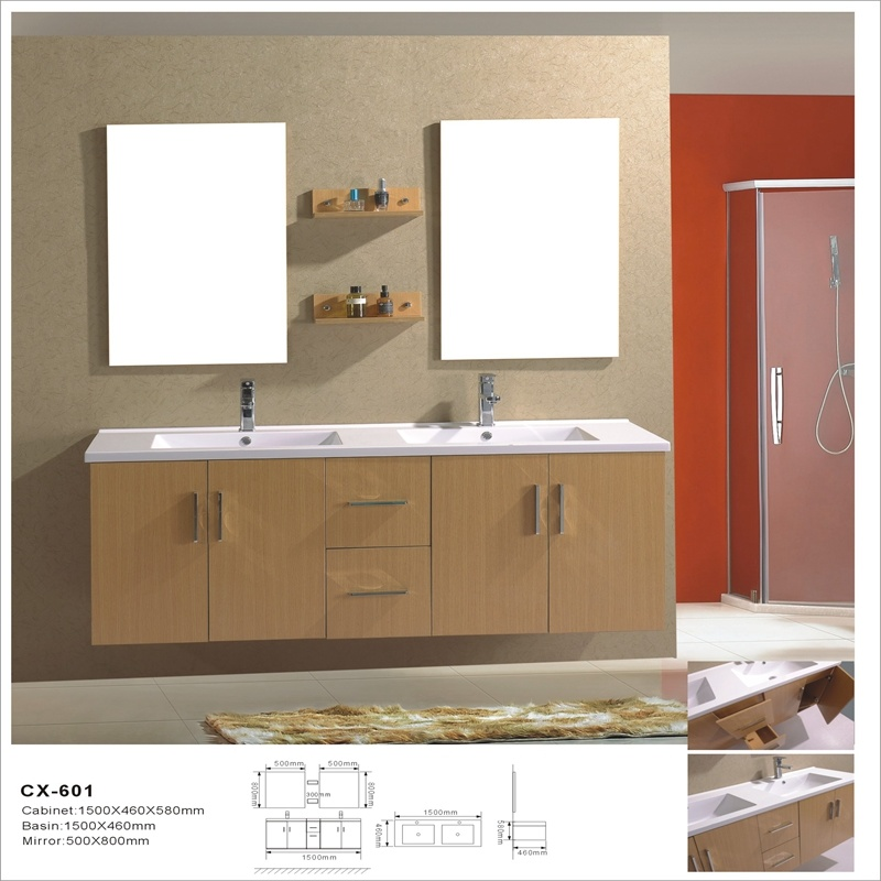 Modern Wall-Mounted Melamine Bathroom Cabinet with Double Basin