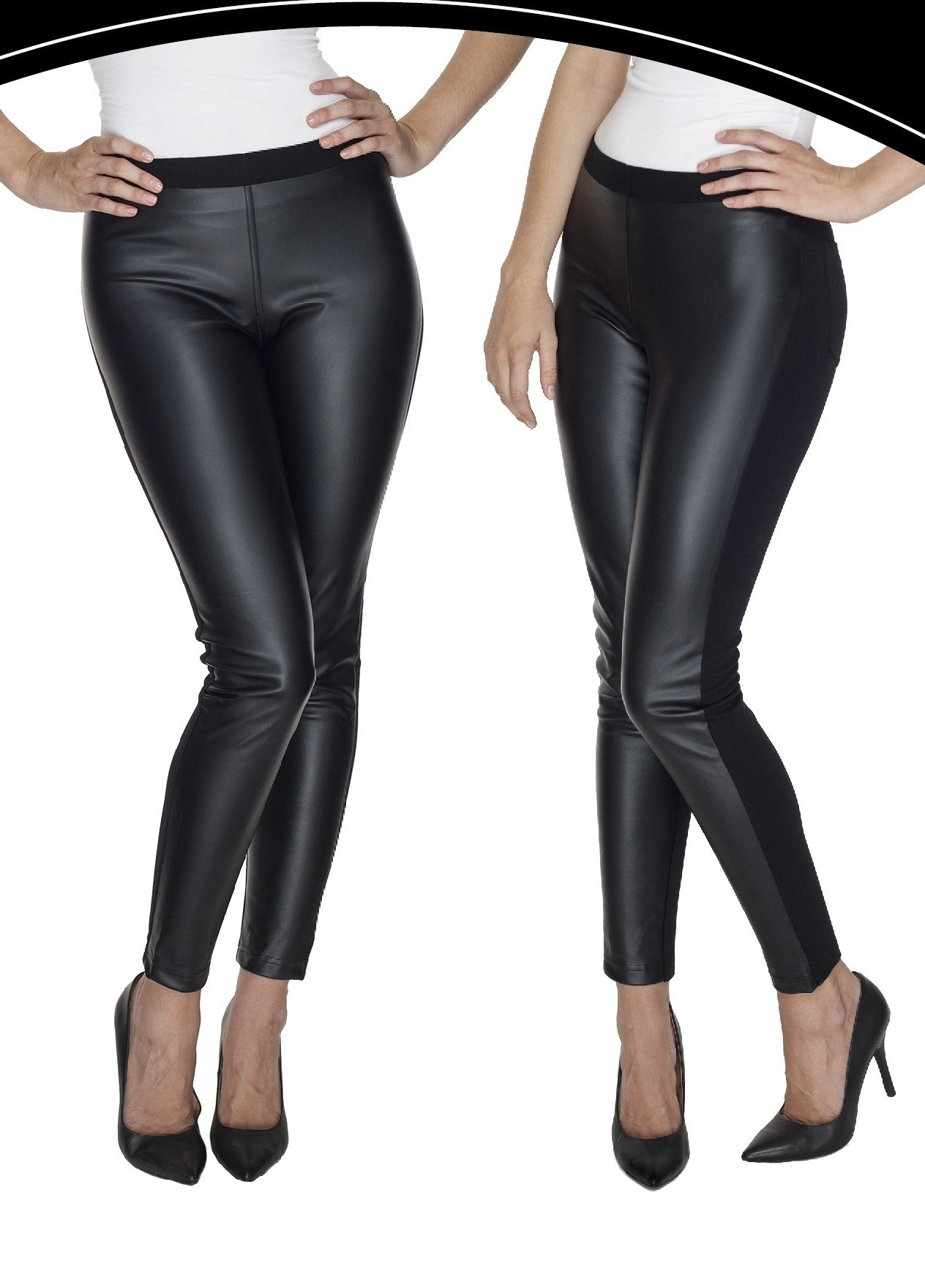 2017 Women′s Tight Legging Made of PU Leather & Roma Fabric