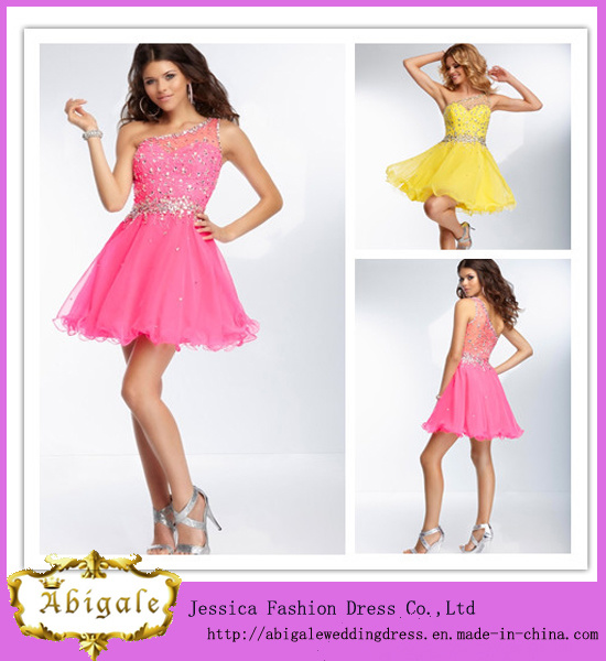 Hot Sale Tulle with Sequins and Beads with One Shoulder Above Knee Length Mini Party Dresses for Women (LH0060)