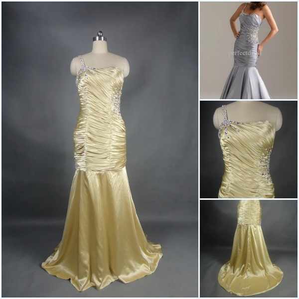 New Arrived 2012 Beautiful One Shoulder Sheath Beaded Taffeta Sexy Prom ...