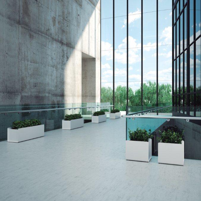 Uispair Square 100% Steel Garden Flower Planter for Modern Office Garden Decoration