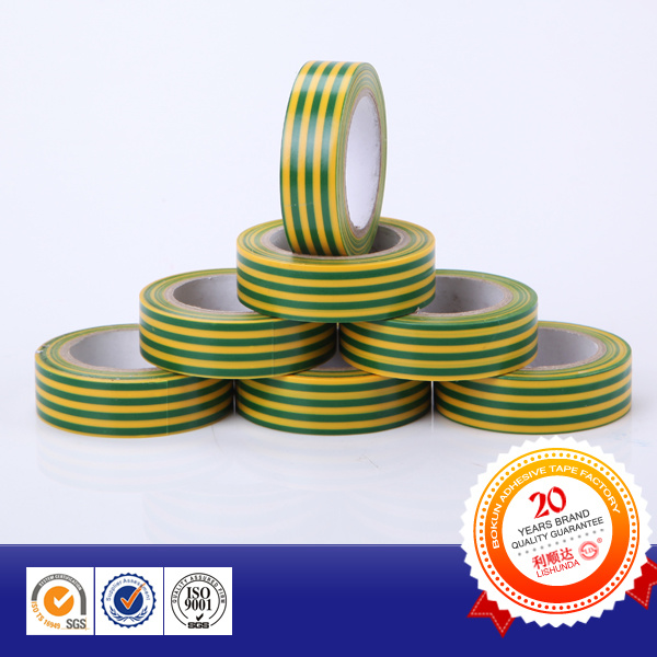 Green-Yellow Stripes PVC Electrical Insulation Tape