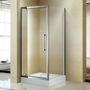 Bathroom Corner Pivot Style Shower Cabin with Shower Base