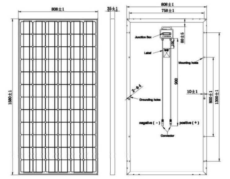 Mono 190W Solar Panel/36V