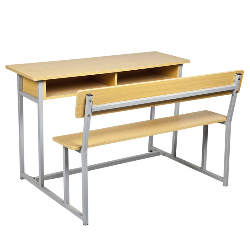 Attached Wood Double Student Desk And Chair Sf 65a 2