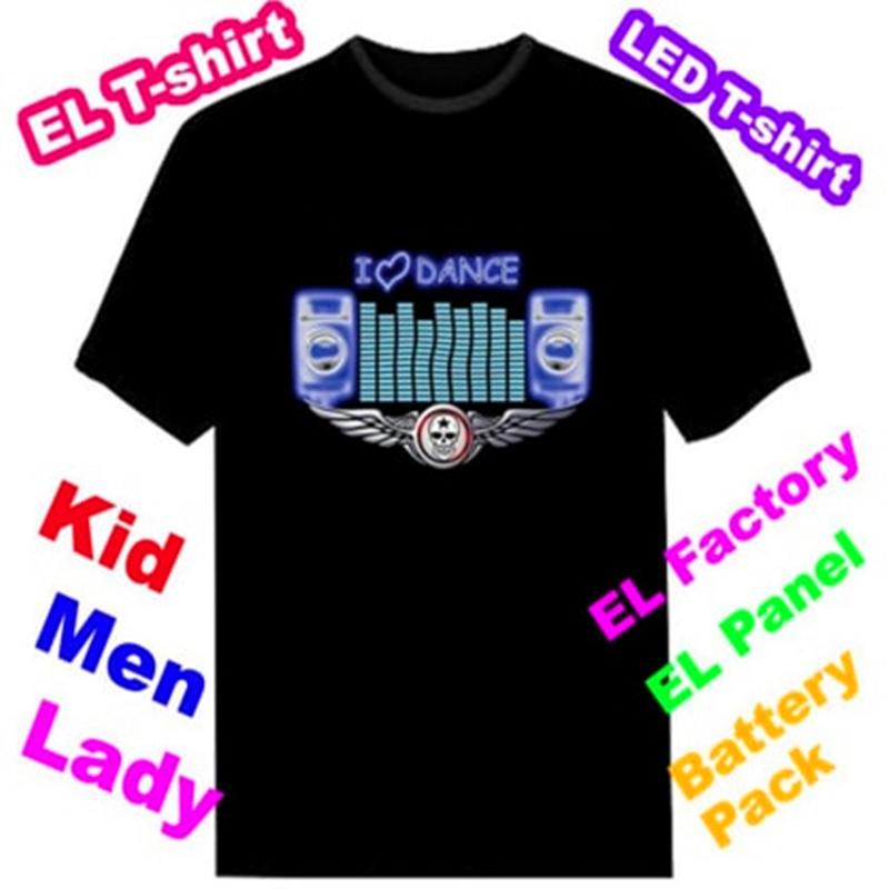 Custom Sound Activated LED EL Light up Flashing T Shirts