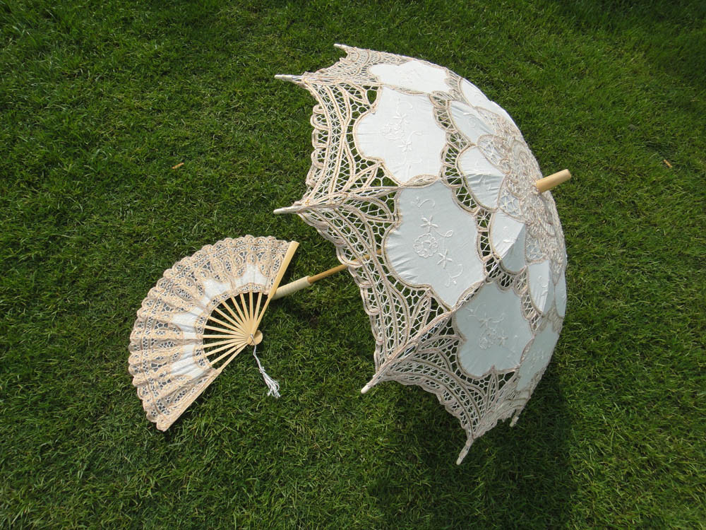 Amazon.com: White Battenburg Lace Wedding Bridal Parasol Umbrella