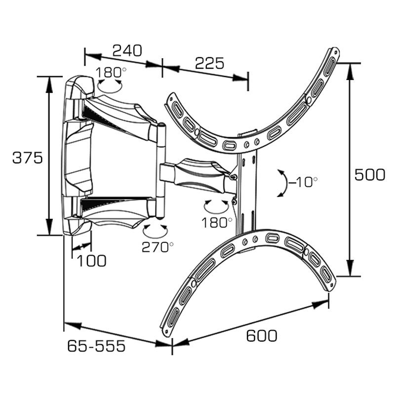 Curved TV Mount Fit for 32-70′′ with Strong Arm