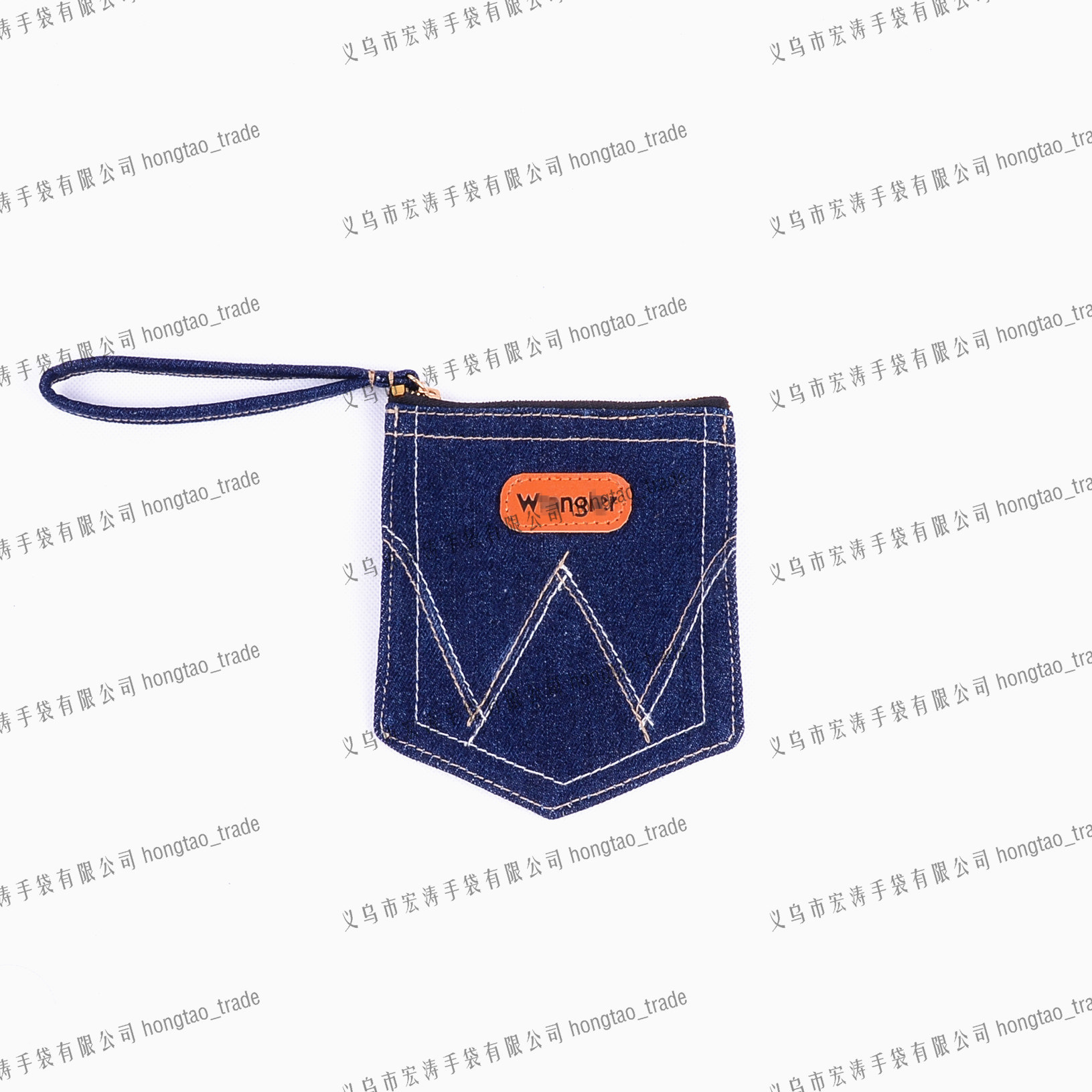 Denim Handbag with Handle Stamp Logo on PU Gift Promo Bag14oz Jean Pocket