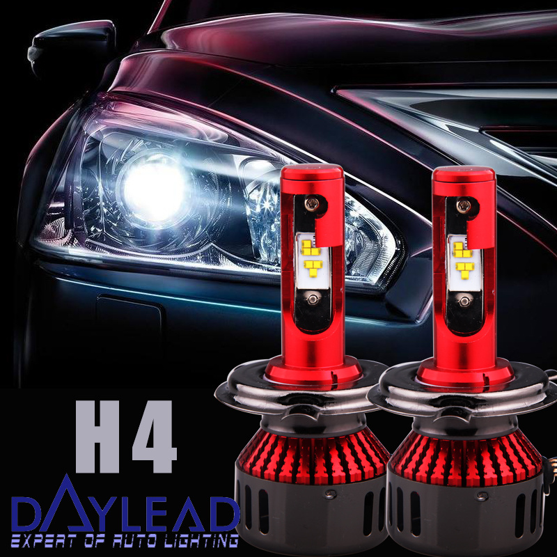 Fluxbeam LED Headlight Kit/Clear Arc-Beam Bulbs H4 High/Low Lamp