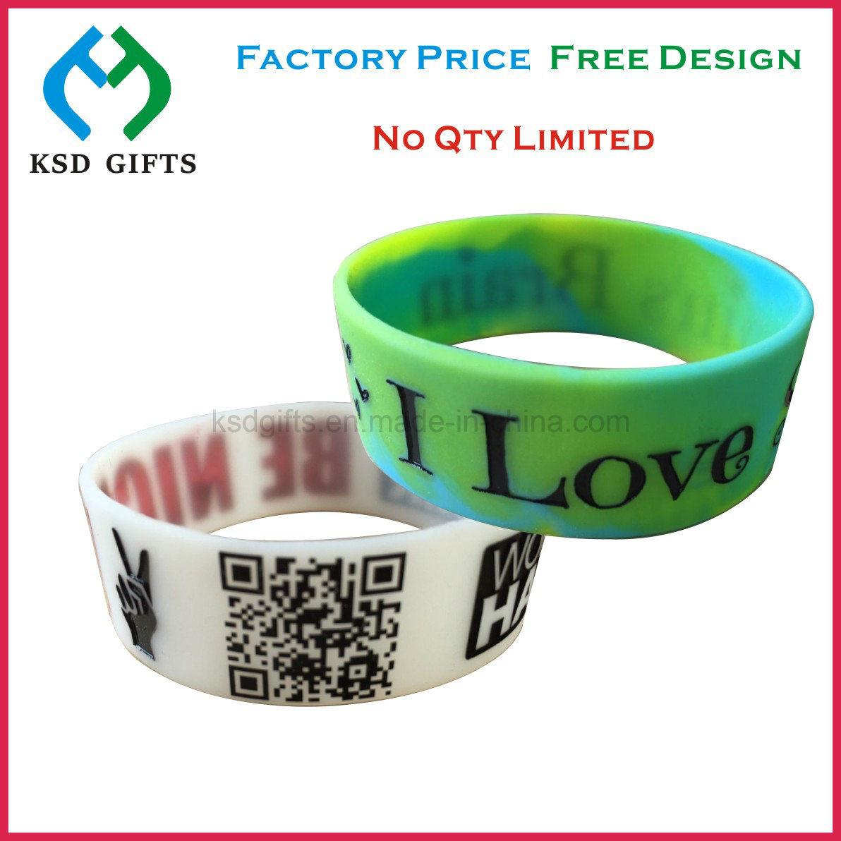 Custom 100% Silicone Bracelet/Rubber Band/Silicone Wristband