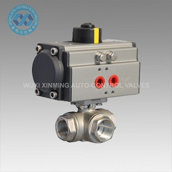 Three Way Pneumatic Actuator Ball Valve