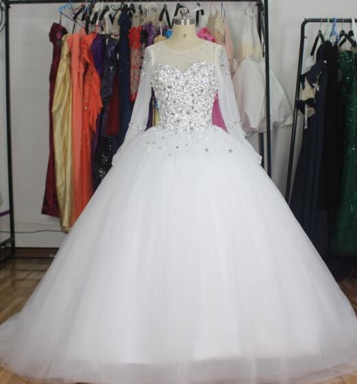 Crystal Bridal Ball Gowns Long Sleeves Beading New Wedding Dress Z2016