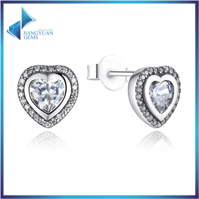 CZ Stone Heart Shape S925 Jewelry Sterling Silver Earrings