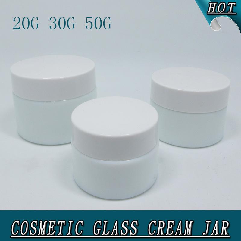 Luxury Cylinder Milk White Opal Glass Cosmetic Cream Jar