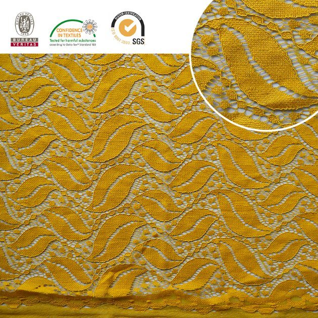 Leaf Pattern High Quality Embroidery Lace Fabric Polyester Trimming Fancy Melt Polyster Lace for Garments & Home Textileslln10045