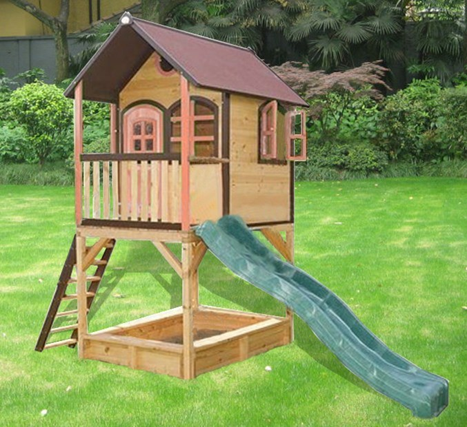 Chinese Fir Children′s Playhouse Outdoor Playground Equipment Amusement Park
