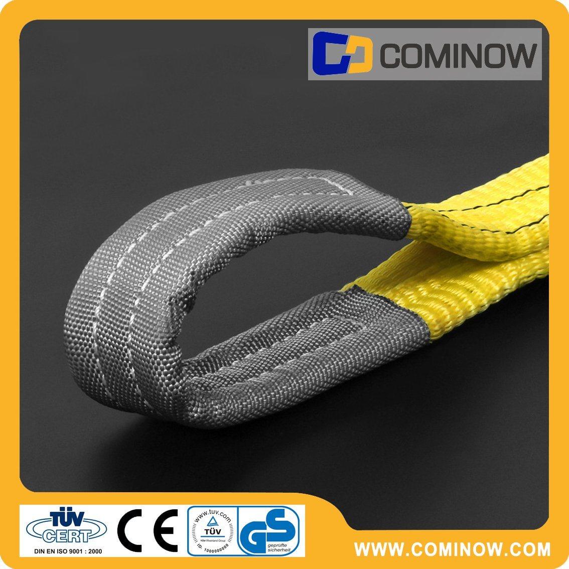 Polyester Flat Webbing Slings Double Ply Eye to Eye Type 3000kgs Yellow Color En1492-1