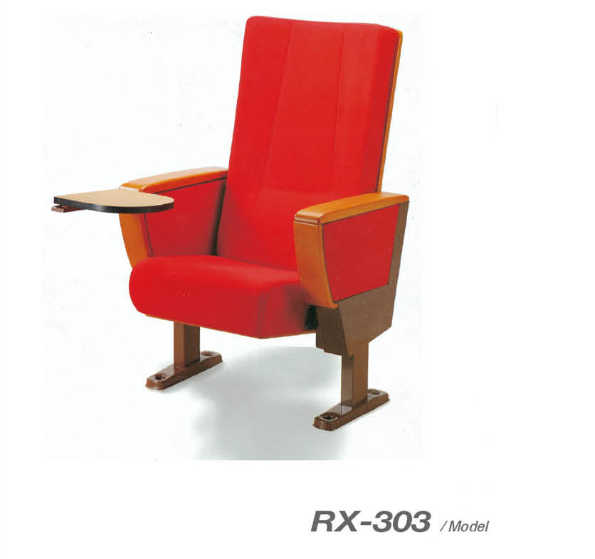 Public Wood Arm Auditorium Chair with Writing Pad (RX-303)