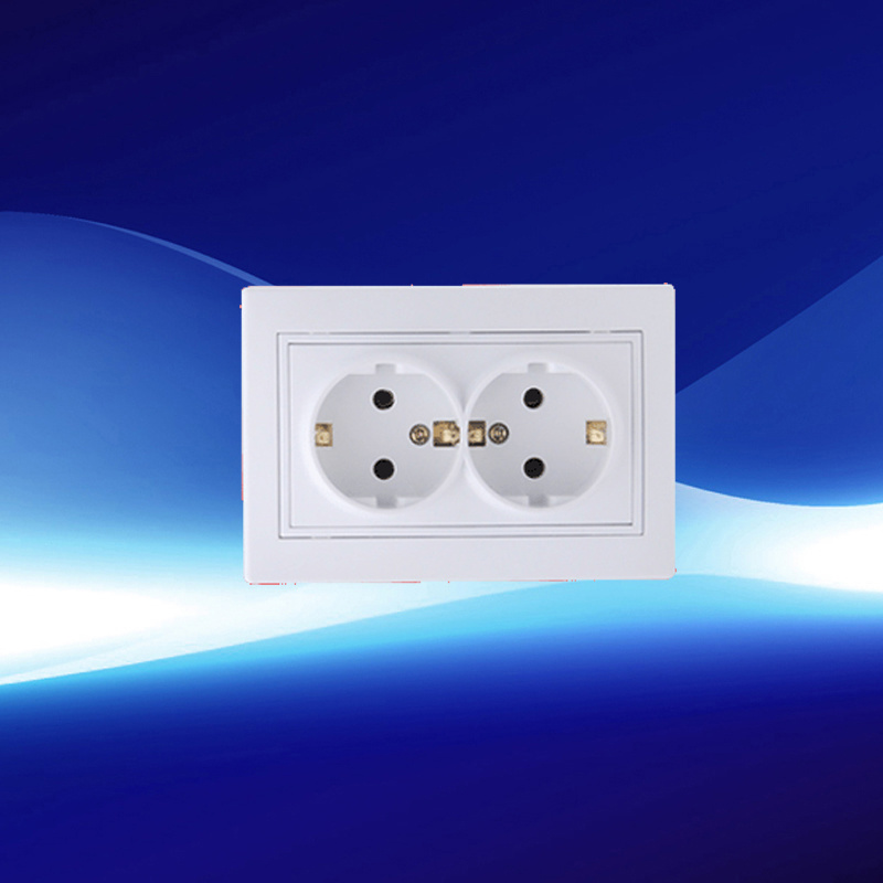 Double European Wall Socket with Earthed