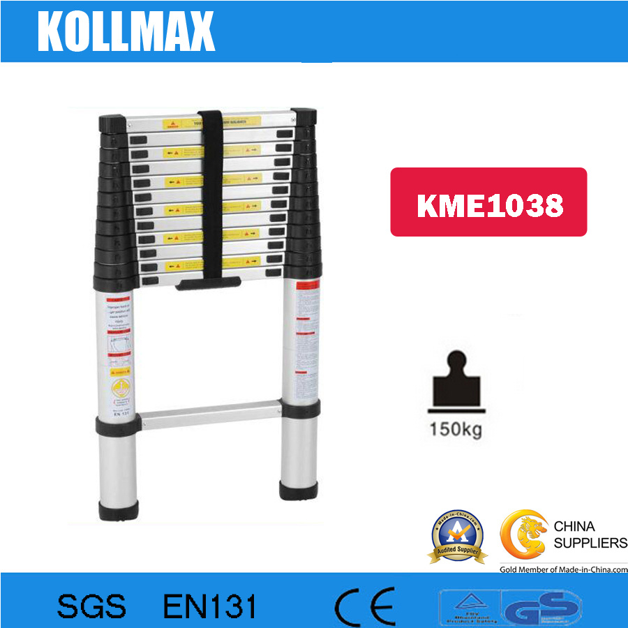 3.8m Telescopic Aluminum Ladder with Stabilizer Bars (KME1038)
