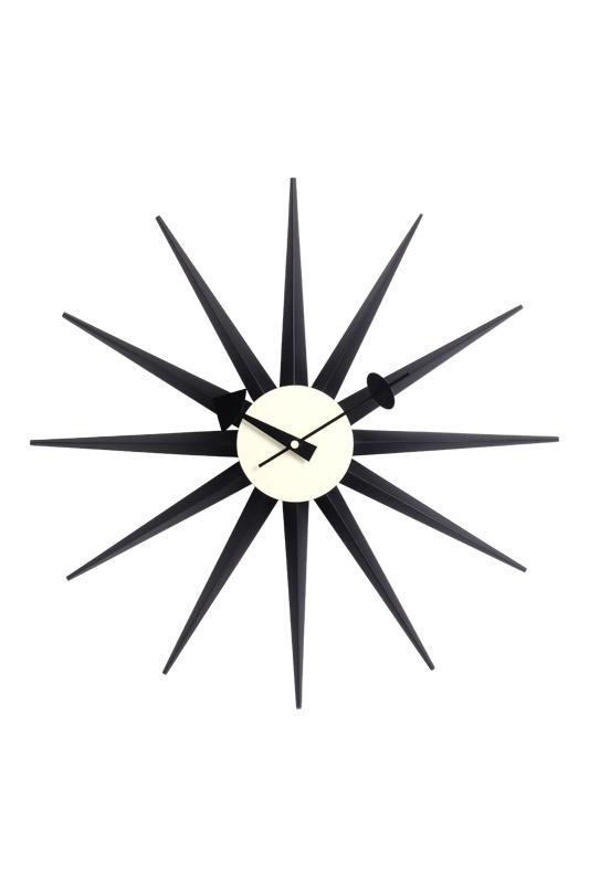 """19"""" Solid Wood Black Sunburst Wall Clock"""