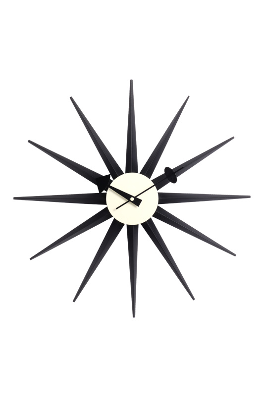 Wood Black Sunbust Wall Clock