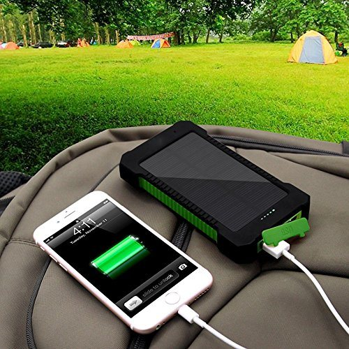 20000mAh Solar Charger Sunpower Panel Power Bank Waterproof, Dust-Proof and Shock-Resistant LED Light, USB Cable + Hook