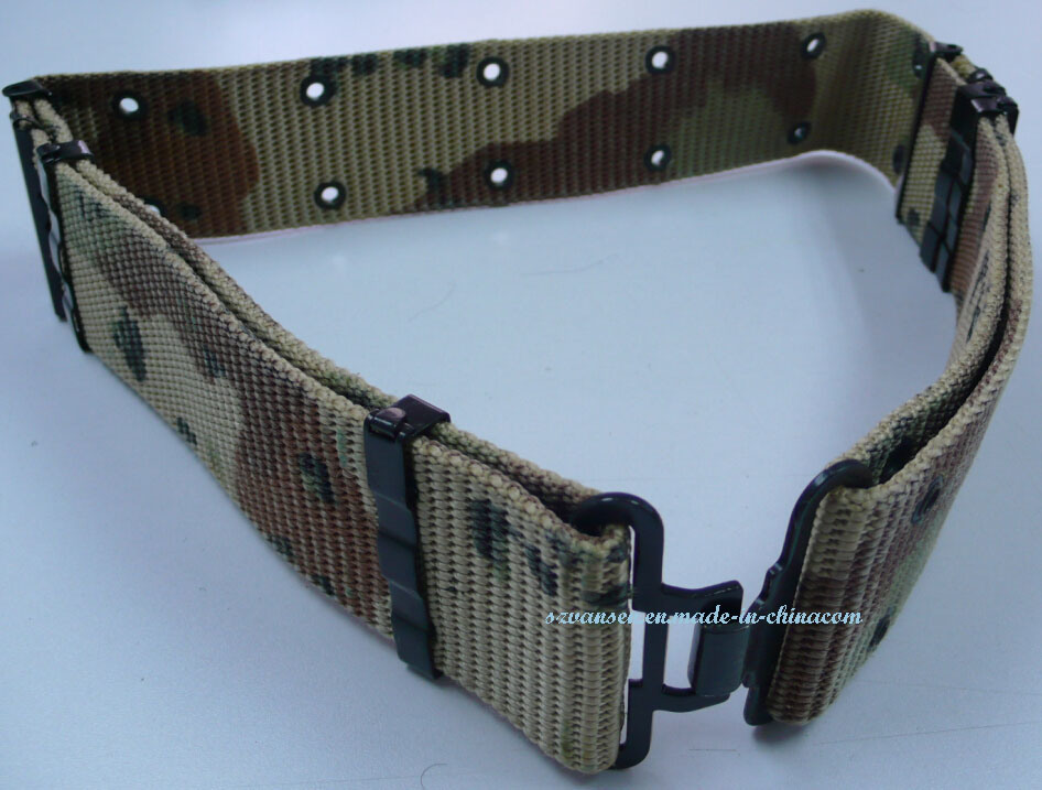 Camouflage Belt with Eyelet and Steel Buckle