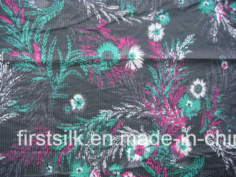 Silk Cotton Stripe Woven Screen Printed Fabric