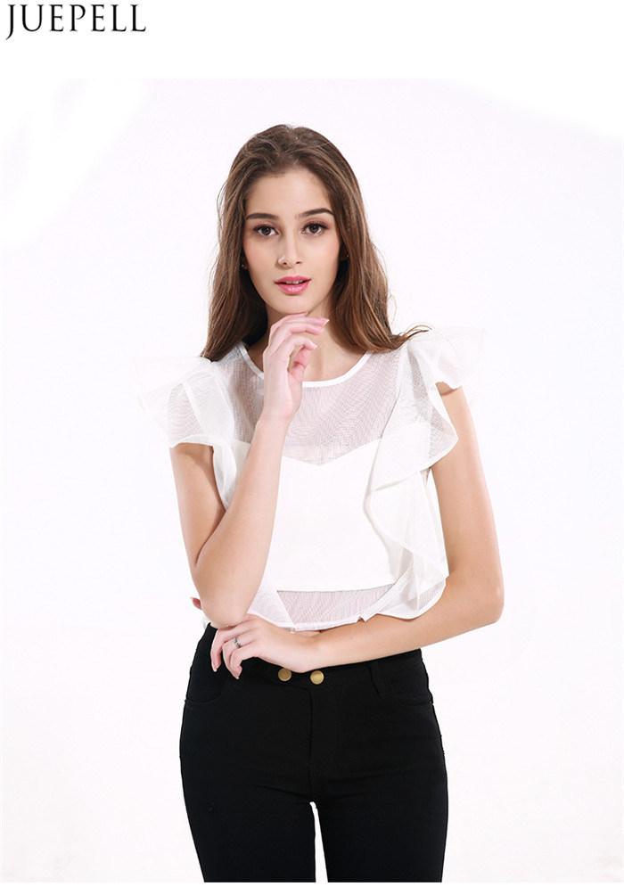 Summer New Temperament Ladies Flounced Net Yarn Splicing Sleeveless Short Women Shirt Blouse Factory OEM in Guangzhou