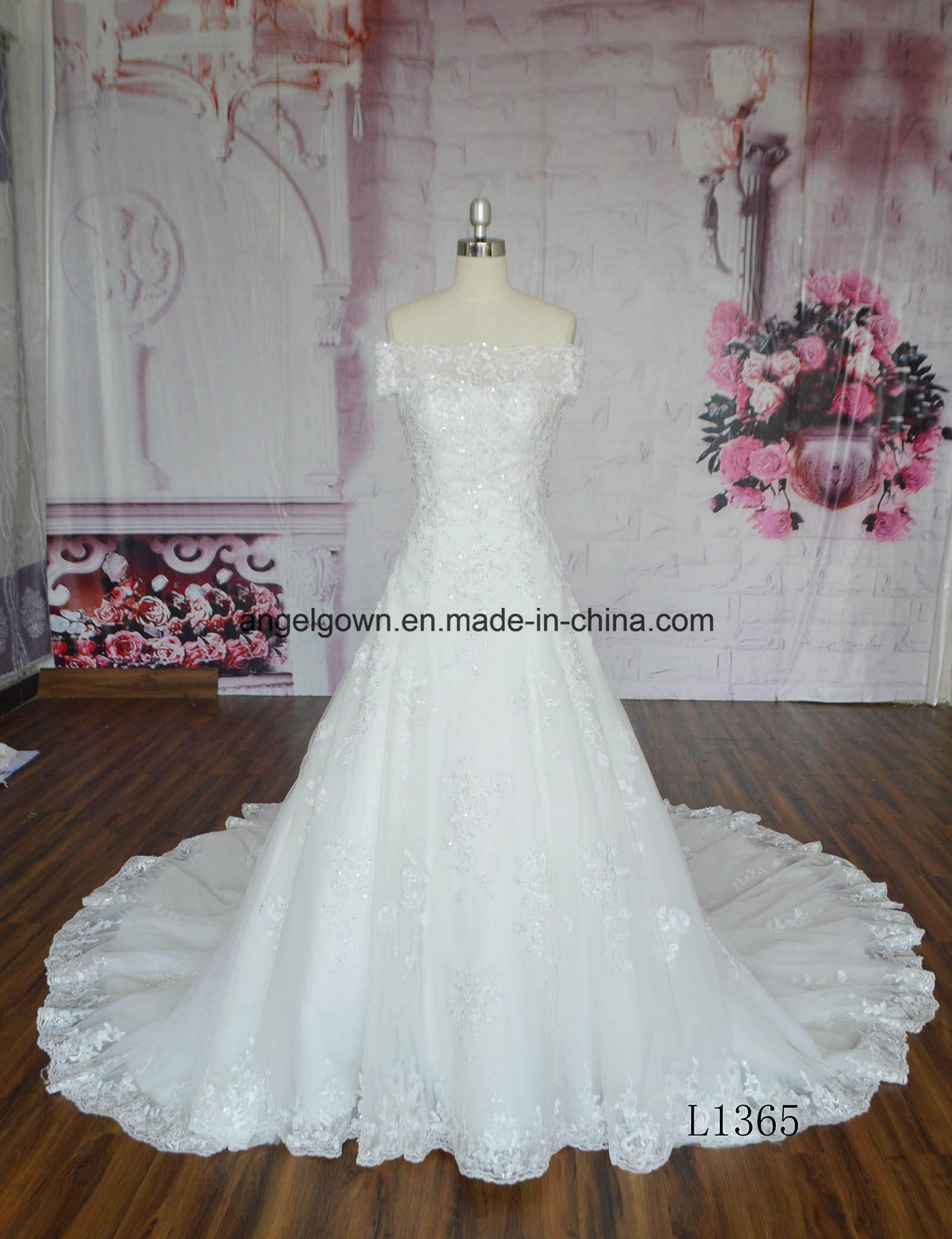 Long Train off Shoulder Lace Applique Abito Da Matrimonio Wedding Dress