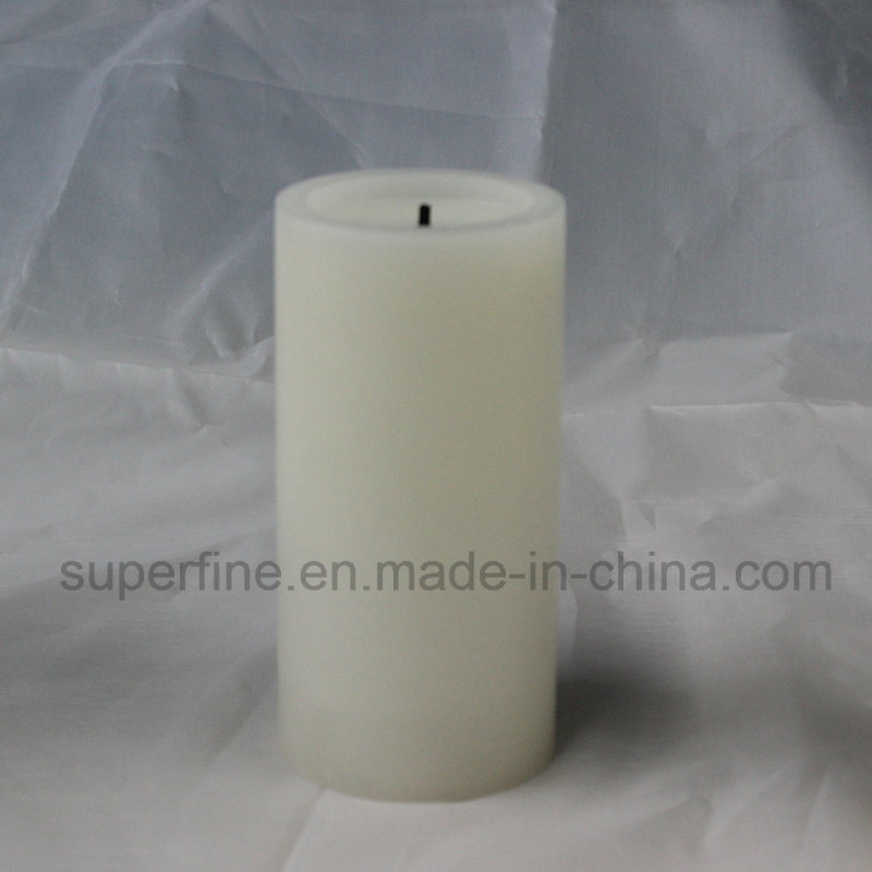 Christmas Realistic Amber Candle Flickering Indoor Wax LED Pillar Candle with Wick Flame