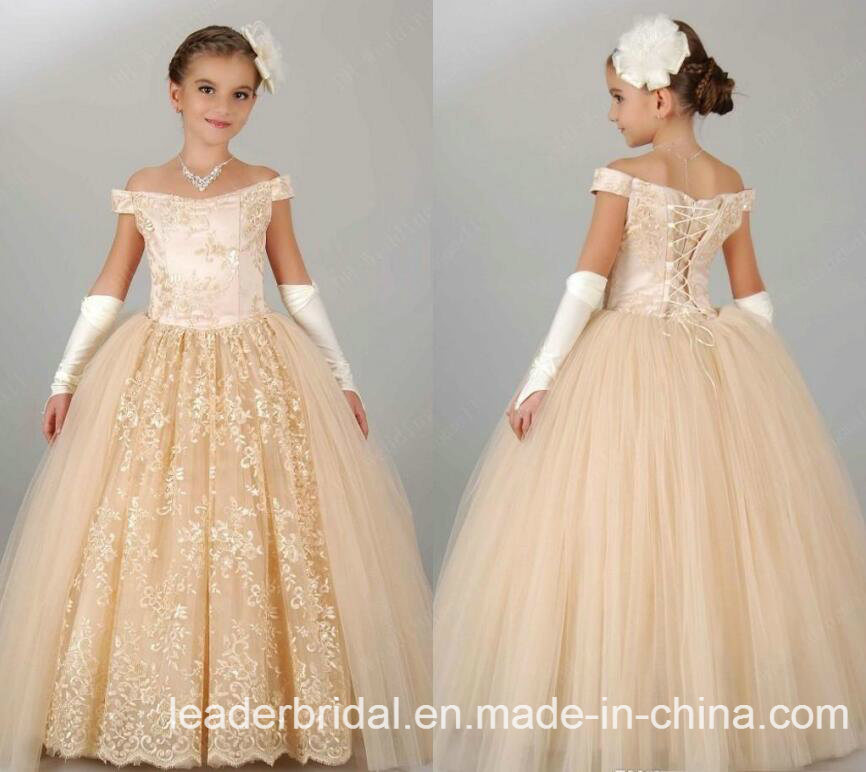 Cream Girls Formal Gown Lace Flower Girl Dresses F201567