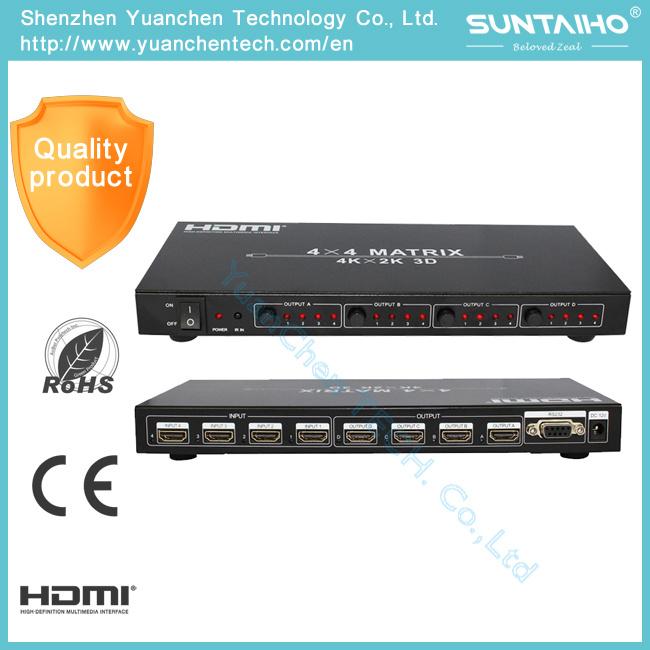 4kx2k 4X4 Ports HDMI 1.4V HDMI Matrix with Remote Control