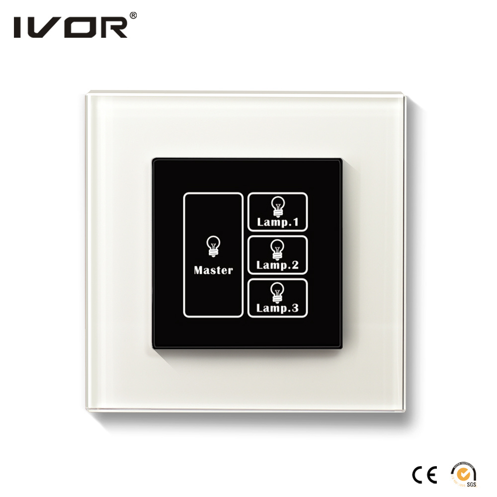 3 Gangs Lighting Switch Touch Panel with Master Control Leather Outline Frame (AXL-LE-L3M)