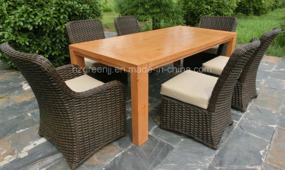 Hard Wood Table with Round Wicker Chairs