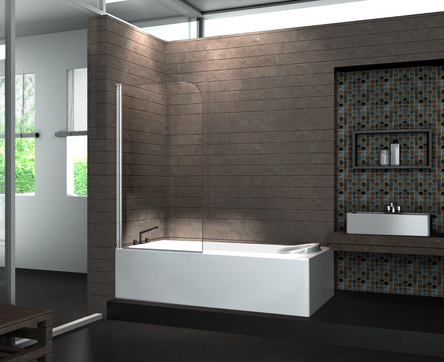 Chrome Frame Bathtub Elegant Tempered Glass Bath Screen with Hinge