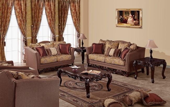 American Classical Fabric Sofa Set for Living Room Antique Furniture