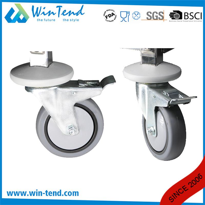 Big Size Mirror Polishing Shinning Shelf Hand Pushing Movable Table Trolley with 4 TPR Wheel